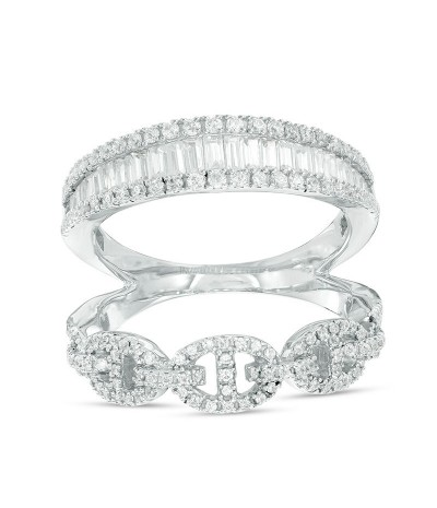 TJD 1 Carat 10 KT White Gold Natural (I Color, I3 Clarity) Baguette and Round Diamond Open Stacked Ring For Women