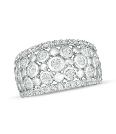 TJD 1 Carat 10 KT White Gold Natural (I Color, I3 Clarity) Diamond Alternating Bubble Ring For Women