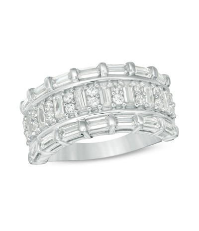 TJD 1 Carat 10 KT White Gold Natural (I Color, I3 Clarity) Baguette and Round Diamond Band For Women