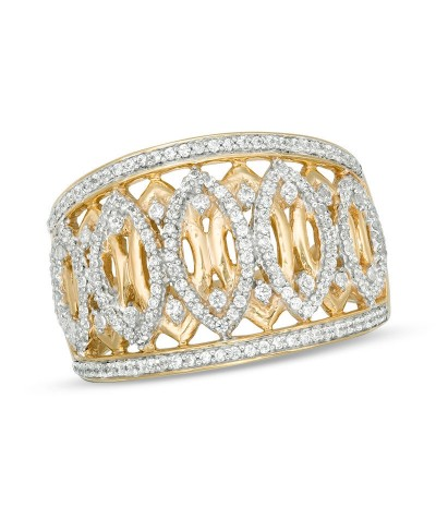 TJD 1/2 Carat 10 KT Gold Natural (I Color, I3 Clarity) Diamond Geometric Marquise Ring For Women