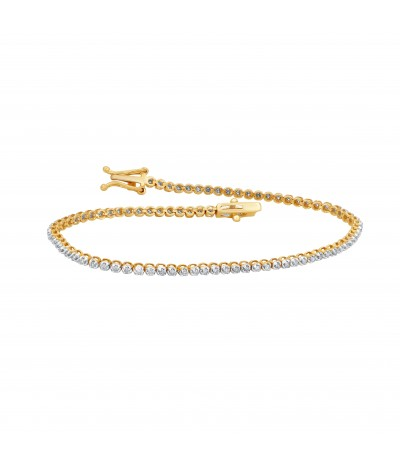 TJD 10 KT Yellow Gold 1/2 Carat (L-M Color, I1-I2 Clarity) Natural Diamond Tennis Bracelet for Women