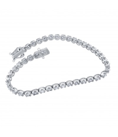 TJD IGI Certified 14 KT White Gold 3 1/2 CT Classic Diamond Tennis Bracelet (G-H Color, I1-I2 Clarity)