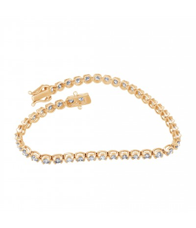 TJD IGI Certified 14 KT Yellow Gold 3 1/2 cttw Classic Diamond Tennis Bracelet (G-H Color, I1-I2 Clarity)