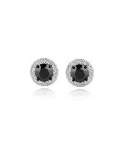 TJD 5/8 Carat 10KT White Gold Natural Diamond (I-J Color, I3 Clarity) and Treated Black Diamonds Solitaire Stud Earrings For Women