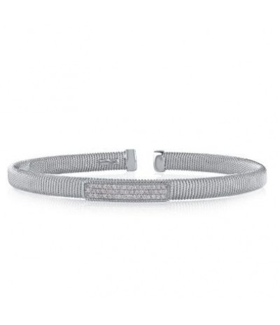 TJD 1/4 Carat 925 Sterling Silver Natural Diamond (H-I Color, I1-I2 Clarity) Mesh Bangle For Women