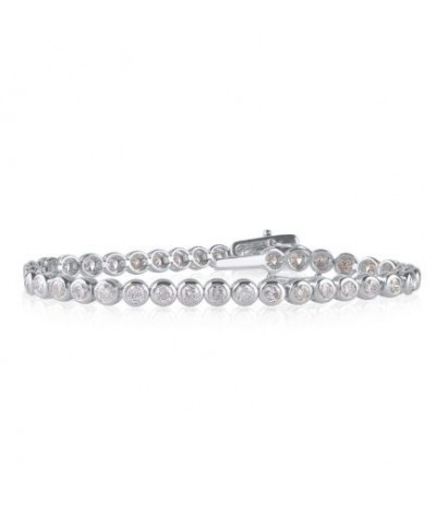 TJD 5.000 Carat 10KT White Gold Natural Diamond (G-H Color, I2-I3 Clarity) Classic Tennis Bracelet For Women