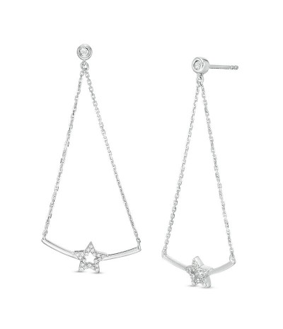 TJD 1/6 Carat 10 KT White Gold Natural Diamond (I Color, I3 Clarity) Open Star and Curved Bar Pendulum Chain Drop Earrings For Women