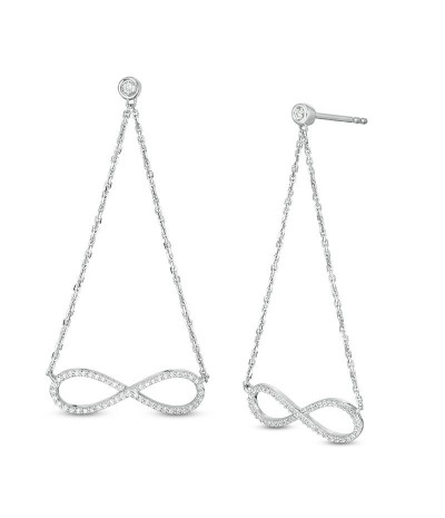 TJD 1/4 Carat 10 KT White Gold Natural (I Color, I3 Clarity) Diamond Infinity Pendulum Chain Drop Earrings For Women