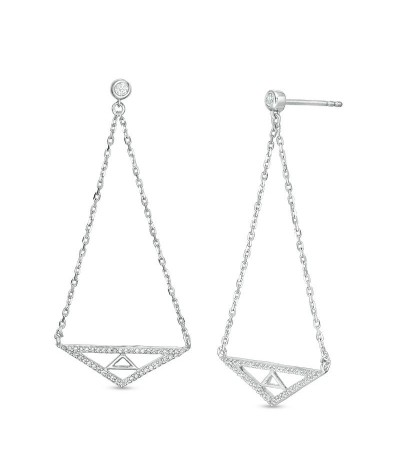 TJD 1/4 Carat 10 KT White Gold Natural Diamond (I Color, I3 Clarity) Double Triangle Pendulum Chain Drop Earrings For Women