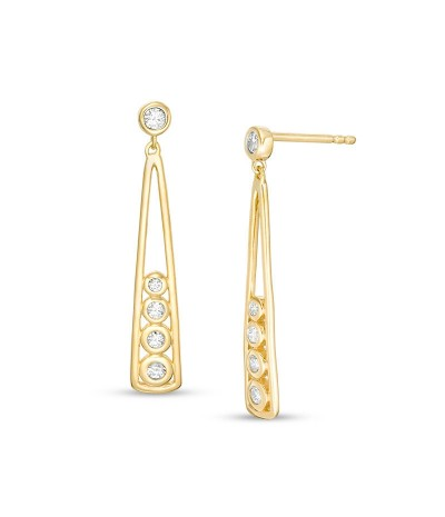 TJD 1/4 Carat 10 KT Gold Natural Diamond (I Color, I3 Clarity) Elongated Drop Earrings For Women