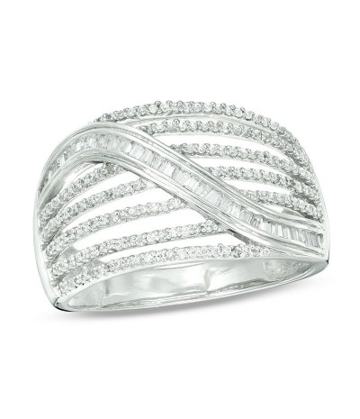 TJD 1/2 Carat 10 KT White Gold Natural (I Color, I3 Clarity) Baguette and Round Diamond Multi-Row Ring For Women