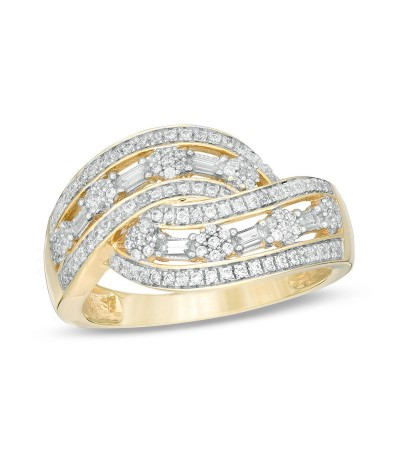 TJD 1/2 Carat 10 KT Yellow Gold Natural (I Color, I3 Clarity) Diamond Multi-Row Swirl Ring For Women